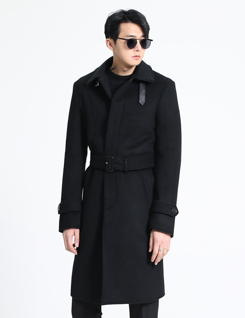 T. LEATHER TRIM WOOL TRENCH COAT