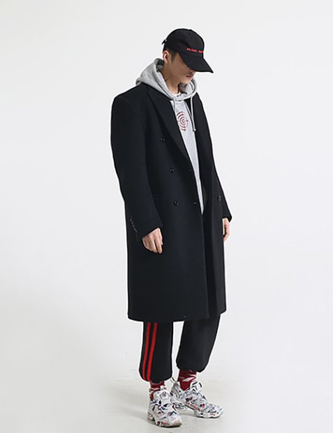 V. WOOL DOUBLEBREASTED COAT_BLACK