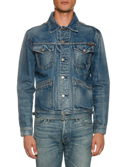 T. BLUE WASHING TRUCKER DENIM JACKET