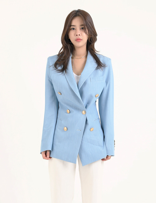C. DOUBLEBREASTED LIGHTBLUE WOOL BLAZER
