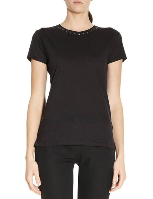 V. NECKLINE STUD COTTON ROUND T-SHIRTS_3COLOR_W